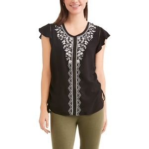 Time and Tru Women's Flutter Sleeve Top XXL/2XG
